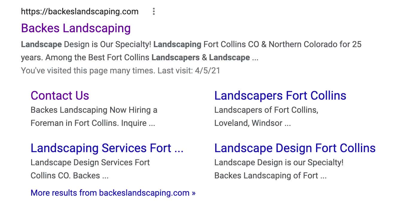 the google snippet for a contractor