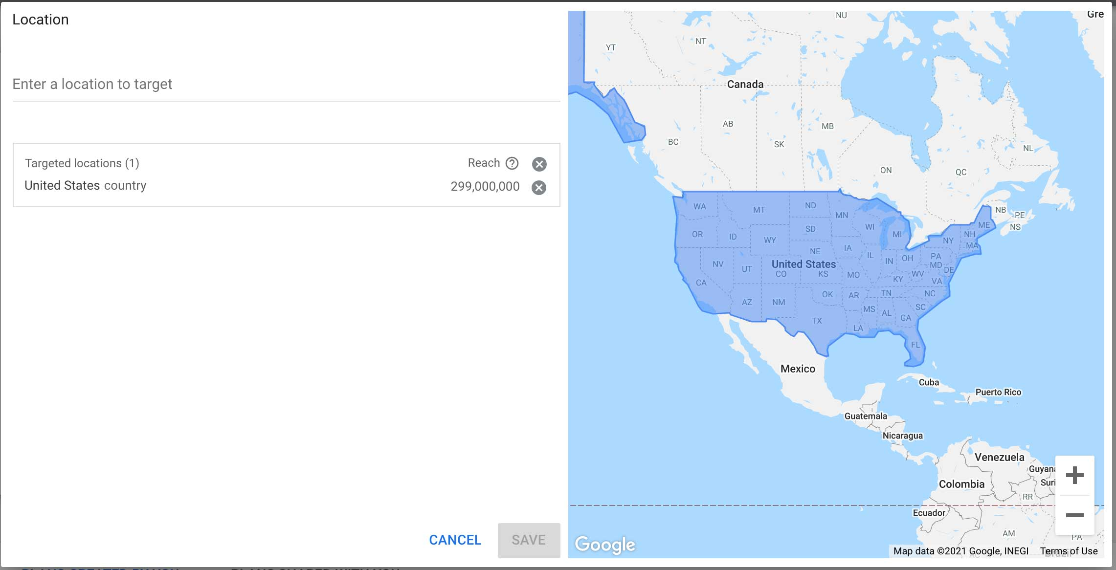 target by location keyword planner google ads