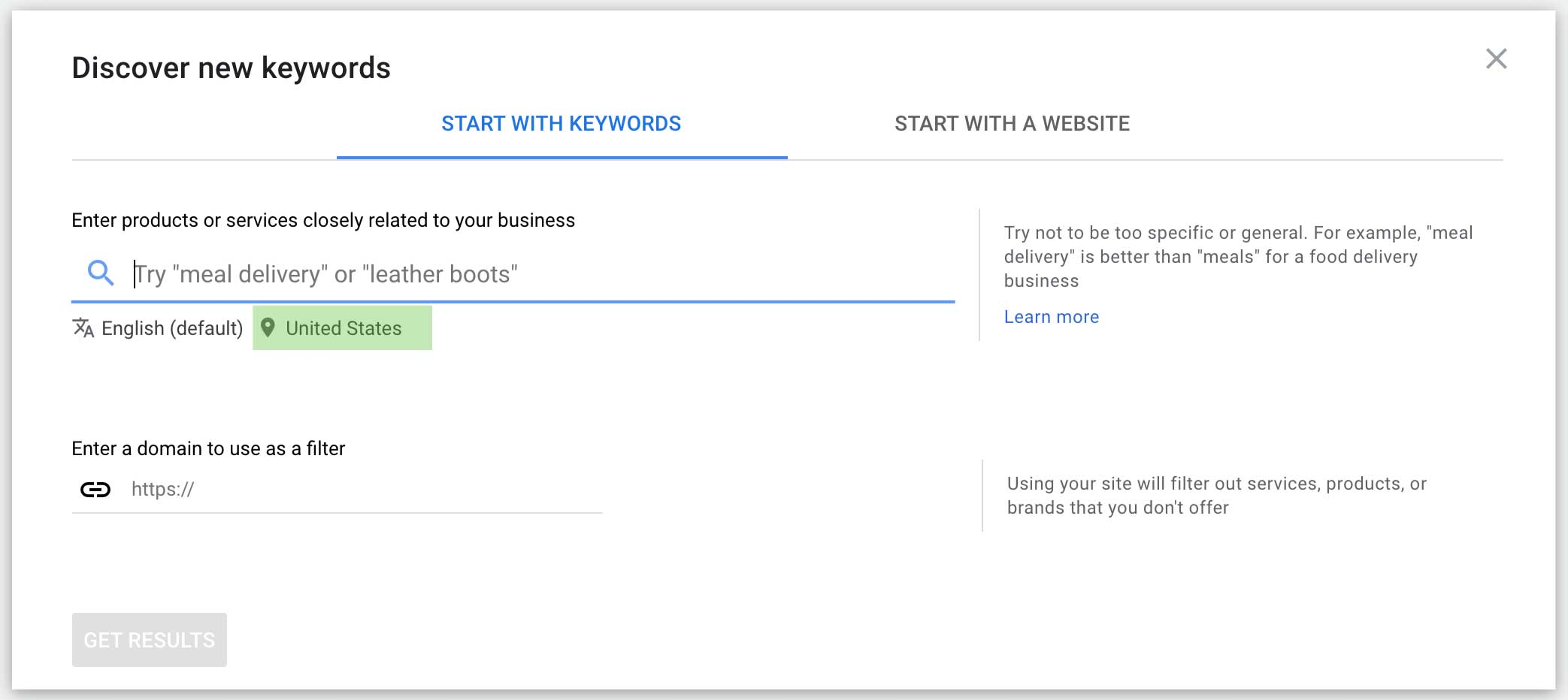 using the google ads keyword planner